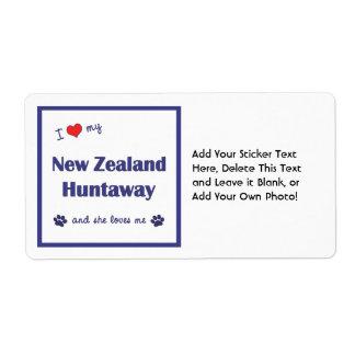 I Love My New Zealand Huntaway (Female Dog) Custom Shipping Label