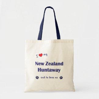 I Love My New Zealand Huntaway Male Dog Canvas Bags