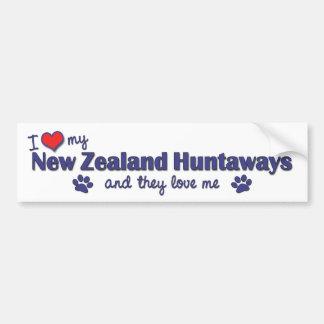 I Love My New Zealand Huntaways Multiple Dogs Bumper Stickers