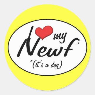 I Love My Newf (It's a Dog) Round Sticker