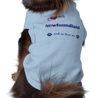 I Love My Newfoundland (Male Dog) Pet T Shirt