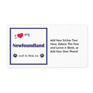 I Love My Newfoundland (Male Dog) Shipping Label
