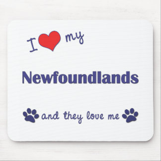 I Love My Newfoundlands (Multiple Dogs) Mouse Mats