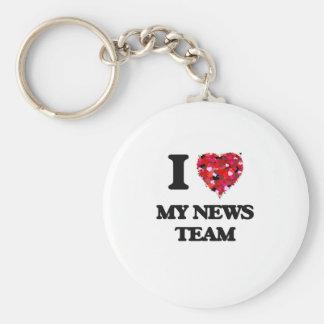 I Love My News Team Basic Round Button Keychain