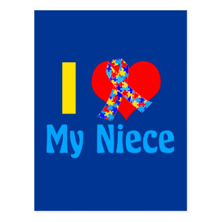 I Love My Niece Autism Awareness Blue Postcard