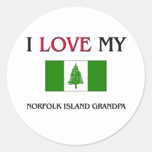 I Love My Norfolk Island Grandpa Classic Round Sticker