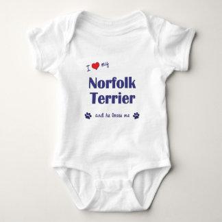 I Love My Norfolk Terrier (Male Dog) Baby Bodysuit