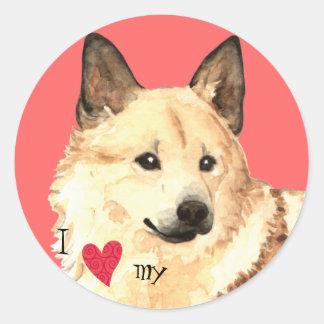 I Love my Norwegian Buhund Classic Round Sticker