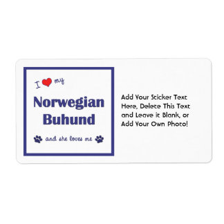 I Love My Norwegian Buhund (Female Dog) Label