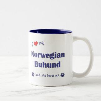 I Love My Norwegian Buhund (Female Dog) Two-Tone Coffee Mug
