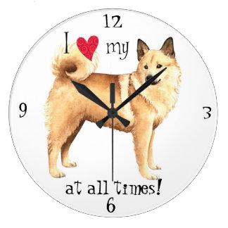 I Love my Norwegian Buhund Large Clock