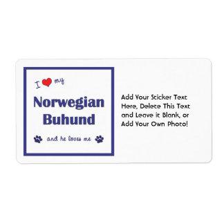 I Love My Norwegian Buhund (Male Dog) Label