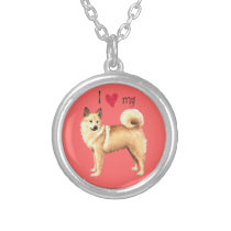 I Love my Norwegian Buhund Silver Plated Necklace