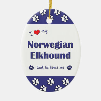 I Love My Norwegian Elkhound (Male Dog) Christmas Tree Ornament