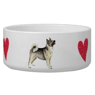 I Love my Norwegian Elkhound Dog Water Bowls