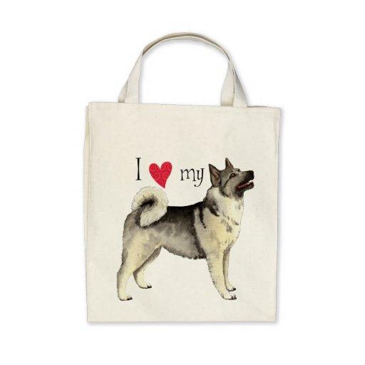 I Love my Norwegian Elkhound Tote Bag