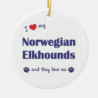 I Love My Norwegian Elkhounds (Multiple Dogs) Christmas Tree Ornaments
