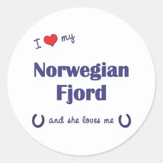 I Love My Norwegian Fjord (Female Horse) Classic Round Sticker
