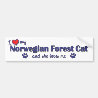 I Love My Norwegian Forest Cat (Female Cat) Bumper Sticker