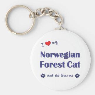 I Love My Norwegian Forest Cat Female Cat Keychain