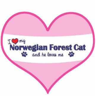 I Love My Norwegian Forest Cat (Male Cat) Photo Sculpture Ornament