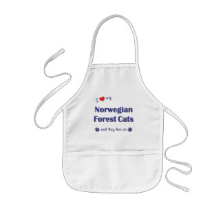 I Love My Norwegian Forest Cats (Multiple Cats) Kids' Apron