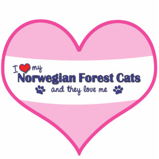 I Love My Norwegian Forest Cats (Multiple Cats) Photo Sculpture Ornament