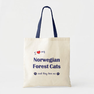 I Love My Norwegian Forest Cats (Multiple Cats) Tote Bag