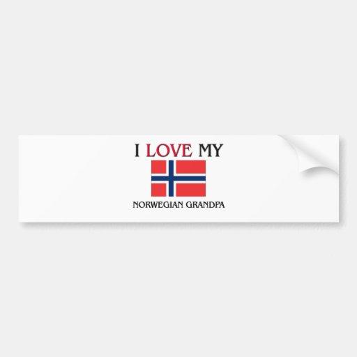 I Love My Norwegian Grandpa Bumper Stickers
