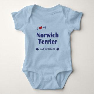I Love My Norwich Terrier (Male Dog) Baby Bodysuit