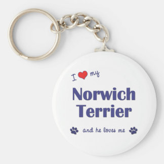 I Love My Norwich Terrier (Male Dog) Keychain