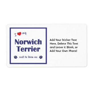 I Love My Norwich Terrier (Male Dog) Label