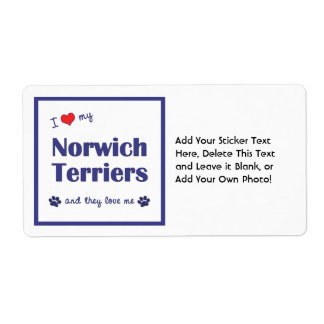 I Love My Norwich Terriers (Multiple Dogs) Personalized Shipping Labels