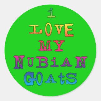 I Love My Nubian Goats Classic Round Sticker
