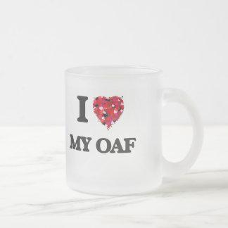 I Love My Oaf 10 Oz Frosted Glass Coffee Mug