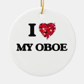 I Love My Oboe Double-Sided Ceramic Round Christmas Ornament