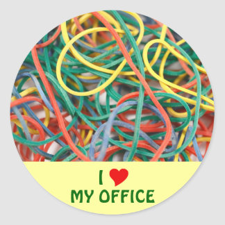 I Love My Office Classic Round Sticker