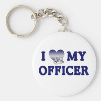 I Love My Officer Keychain