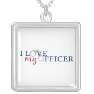 I Love My Officer Square Pendant Necklace