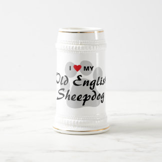 I Love My Old English Sheepdog Beer Stein