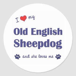 I Love My Old English Sheepdog (Female Dog) Classic Round Sticker