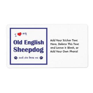 I Love My Old English Sheepdog (Female Dog) Label