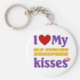 I love my Old English Sheepdog Kisses Keychain