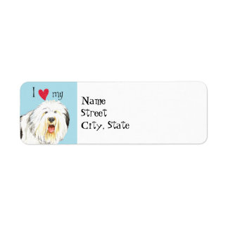 I Love my Old English Sheepdog Label