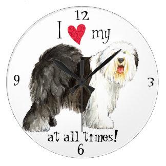 I Love my Old English Sheepdog Large Clock