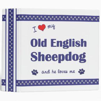 I Love My Old English Sheepdog (Male Dog) 3 Ring Binder