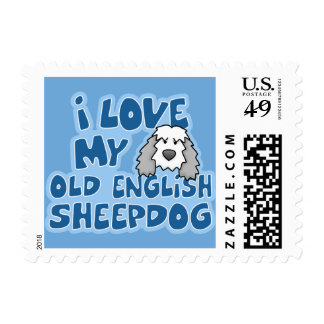 I Love My Old English Sheepdog Postage Stamps