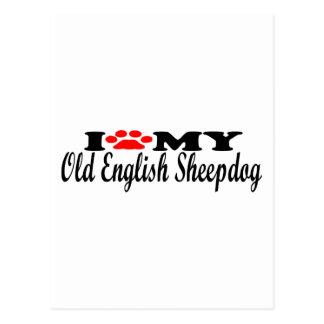 I Love My Old English Sheepdog Postcard