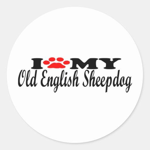 I Love My Old English Sheepdog Round Sticker