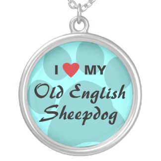 I Love My Old English Sheepdog Silver Plated Necklace